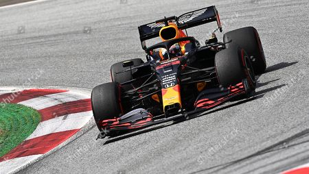 Red Bull driver Max Verstappen of the Netherlands steers his car during the Styrian Formula One Grand Prix at the Red Bull Ring racetrack in Spielberg, Austria, Sunday, July 12, 2020. (Joe Klamar/Pool via AP)
