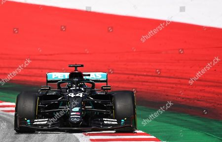 Mercedes driver Lewis Hamilton of Britain steers his car during the Styrian Formula One Grand Prix at the Red Bull Ring racetrack in Spielberg, Austria, Sunday, July 12, 2020. (Joe Klamar/Pool via AP)