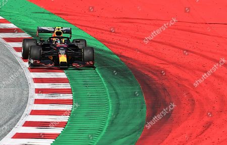 Red Bull driver Alexander Albon of Thailand steers his car during the Styrian Formula One Grand Prix at the Red Bull Ring racetrack in Spielberg, Austria, Sunday, July 12, 2020. (Joe Klamar/Pool via AP)