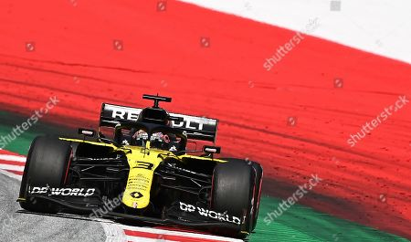Renault driver Daniel Ricciardo of Australia steers his car during the Styrian Formula One Grand Prix at the Red Bull Ring racetrack in Spielberg, Austria, Sunday, July 12, 2020. (Joe Klamar/Pool via AP)