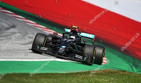 Mercedes driver Valtteri Bottas of Finland steers his car during the Styrian Formula One Grand Prix at the Red Bull Ring racetrack in Spielberg, Austria, Sunday, July 12, 2020. (Joe Klamar/Pool via AP)