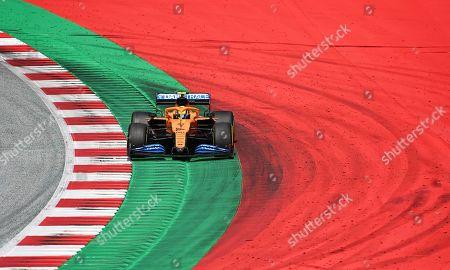 Mclaren driver Lando Norris of Britain steers his car during the Styrian Formula One Grand Prix at the Red Bull Ring racetrack in Spielberg, Austria, Sunday, July 12, 2020. (Joe Klamar/Pool via AP)