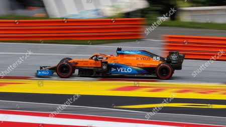 Mclaren driver Carlos Sainz of Spain steers his car during the Styrian Formula One Grand Prix at the Red Bull Ring racetrack in Spielberg, Austria, Sunday, July 12, 2020. (AP Photo/Darko Bandic, Pool)