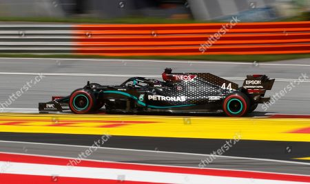 Mercedes driver Lewis Hamilton of Britain steers his car during the Styrian Formula One Grand Prix at the Red Bull Ring racetrack in Spielberg, Austria, Sunday, July 12, 2020. (AP Photo/Darko Bandic, Pool)