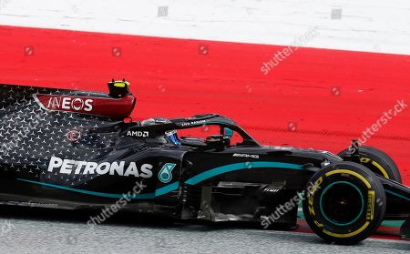 Mercedes driver Valtteri Bottas of Finland steers his car during the Styrian Formula One Grand Prix at the Red Bull Ring racetrack in Spielberg, Austria, Sunday, July 12, 2020. (AP Photo/Darko Bandic, Pool)