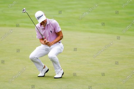 Justin Thomas reacts after missing a birdie putt on the fourth hole during the final round of the Workday Charity Open golf tournament, in Dublin, Ohio