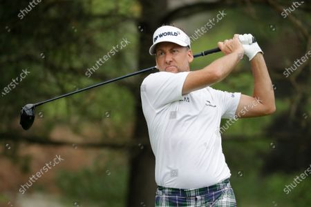 Ian Poulter, of England, hits on the second hole during the final round of the Workday Charity Open golf tournament, in Dublin, Ohio