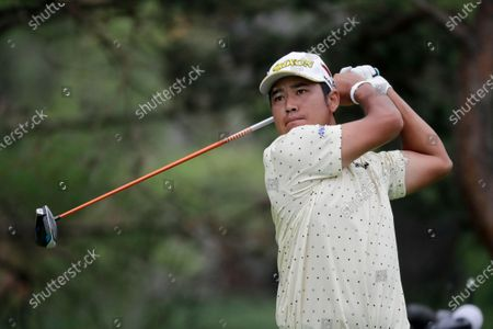 Hideki Matsuyama hits on the second hole during the final round of the Workday Charity Open golf tournament, in Dublin, Ohio