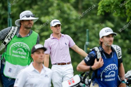 Justin Thomas watches his drive on the fifth hole during the final round of the Workday Charity Open golf tournament, in Dublin, Ohio