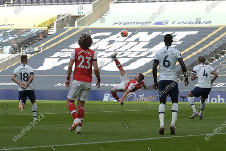 Shkodran Mustafi of Arsenal goes close with an overhead kick during the Tottenham Hotspur vs Arsenal Premier League Football match at the Tottenham Hotspur Stadium on 12th July 2020