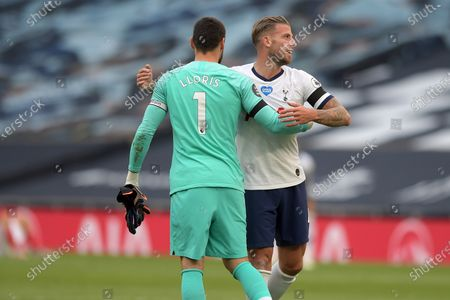 Match winner Toby Alderweireld of Tottenham Hotspur celebrates victory with Hugo Lloris  during the Tottenham Hotspur vs Arsenal Premier League Football match at the Tottenham Hotspur Stadium on 12th July 2020