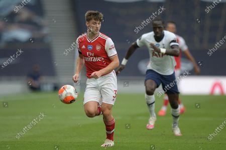 Kieran Tierney of Arsenal during the Tottenham Hotspur vs Arsenal Premier League Football match at the Tottenham Hotspur Stadium on 12th July 2020