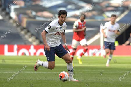 Son Heung-Min of Tottenham Hotspur during the Tottenham Hotspur vs Arsenal Premier League Football match at the Tottenham Hotspur Stadium on 12th July 2020