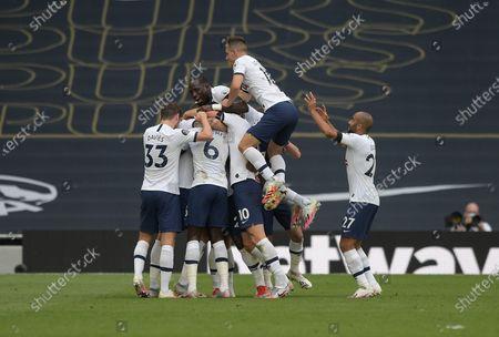GOAL Toby Alderweireld of Tottenham Hotspur puts his team 2-1 up during the Tottenham Hotspur vs Arsenal Premier League Football match at the Tottenham Hotspur Stadium on 12th July 2020