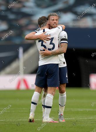 Toby Alderweireld of Tottenham Hotspur celebrates victory with Ben Davies during the Tottenham Hotspur vs Arsenal Premier League Football match at the Tottenham Hotspur Stadium on 12th July 2020