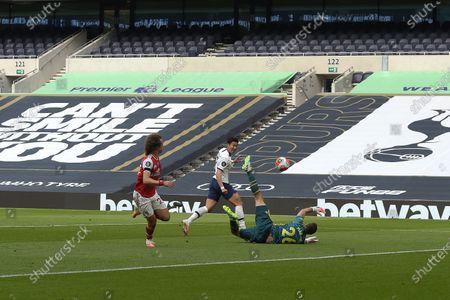 GOAL Son Heung-Min of Tottenham Hotspur equalises  during the Tottenham Hotspur vs Arsenal Premier League Football match at the Tottenham Hotspur Stadium on 12th July 2020