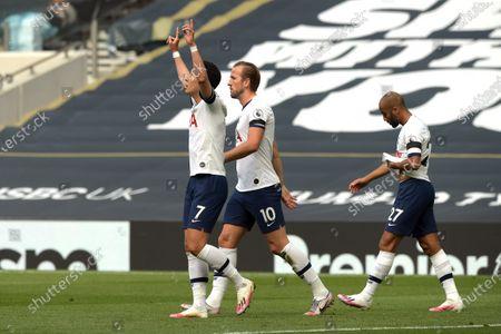 Son Heung-Min of Tottenham Hotspur celebrates his goal to level the score at 1-1 during the Tottenham Hotspur vs Arsenal Premier League Football match at the Tottenham Hotspur Stadium on 12th July 2020