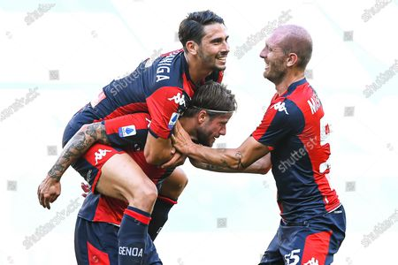 Genoa's Lasse Schone (C) celebrates with teammates Edoardo Goldaniga (up L) and Andrea Masiello (R) after scoring the 2-0 lead during the Italian Serie A soccer match between Genoa CFC and SPAL Ferrara at Luigi Ferraris stadium in Genoa, Italy, 12 July 2020.