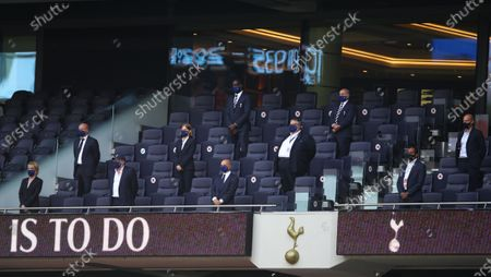 Tottenham's chairman Daniel Levy (C) observes a minute of silence to remember former English international Jack Charlton ahead of the English Premier League soccer match between Tottenham Hotspur and Arsenal FC in London, Britain, 12 July 2020.