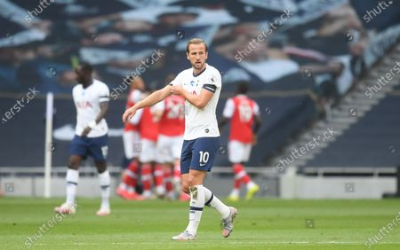 Harry Kane of Tottenham reacts during the English Premier League soccer match between Tottenham Hotspur and Arsenal FC in London, Britain, 12 July 2020.