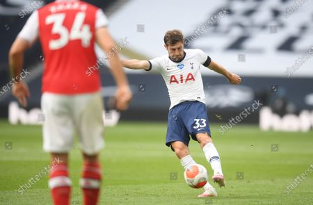 Ben Davies (R) of Tottenham in action during the English Premier League soccer match between Tottenham Hotspur and Arsenal FC in London, Britain, 12 July 2020.
