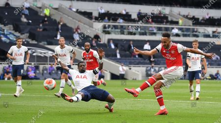 Pierre-Emerick Aubameyang (R) of Arsenal in action during the English Premier League soccer match between Tottenham Hotspur and Arsenal FC in London, Britain, 12 July 2020.