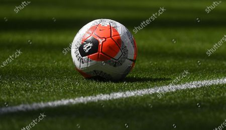 An official Nike match ball on display during the English Premier League soccer match between Tottenham Hotspur and Arsenal FC in London, Britain, 12 July 2020.