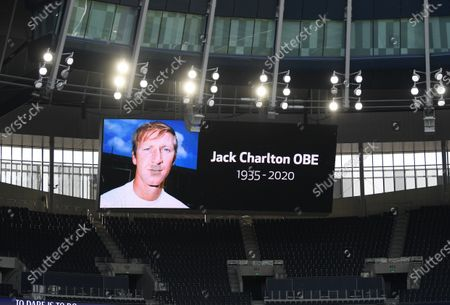 A photograph of former English international Jack Charlton is displayed on a huge screen ahead of the English Premier League soccer match between Tottenham Hotspur and Arsenal FC in London, Britain, 12 July 2020.