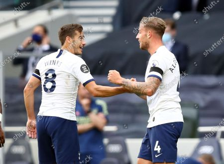Toby Alderweireld (R) of Tottenham celebrates with teammate Harry Winks (L) after scoring the 2-1 lead during the English Premier League soccer match between Tottenham Hotspur and Arsenal FC in London, Britain, 12 July 2020.