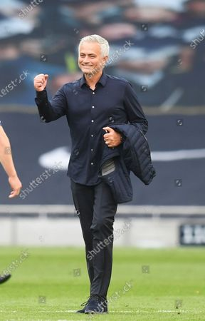 Tottenham's manager Jose Mourinho celebrates after the English Premier League soccer match between Tottenham Hotspur and Arsenal FC in London, Britain, 12 July 2020.