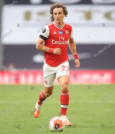 David Luiz of Arsenal in action during the English Premier League soccer match between Tottenham Hotspur and Arsenal FC in London, Britain, 12 July 2020.