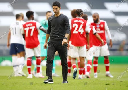 Arsenal's manager Mikel Arteta reacts after the English Premier League soccer match between Tottenham Hotspur and Arsenal FC in London, Britain, 12 July 2020.