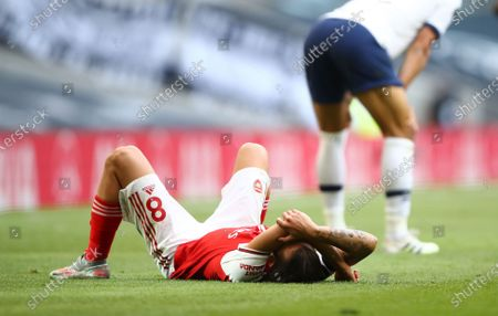 Dani Ceballos of Arsenal reacts during the English Premier League soccer match between Tottenham Hotspur and Arsenal FC in London, Britain, 12 July 2020.