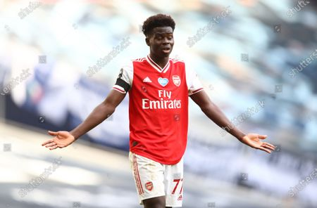 Bukayo Saka of Arsenal reacts during the English Premier League soccer match between Tottenham Hotspur and Arsenal FC in London, Britain, 12 July 2020.