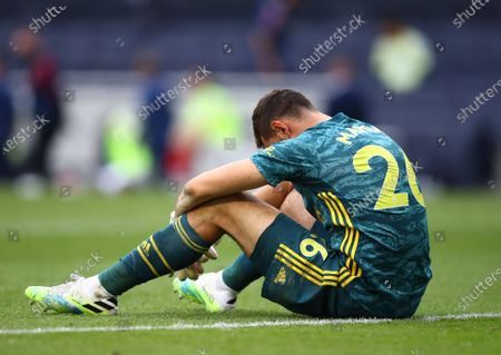 Arsenal goalkeeper Emiliano Martinez reacts during the English Premier League soccer match between Tottenham Hotspur and Arsenal FC in London, Britain, 12 July 2020.