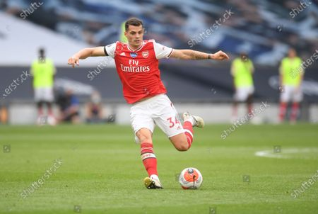 Granit Xhaka of Arsenal in action during the English Premier League soccer match between Tottenham Hotspur and Arsenal FC in London, Britain, 12 July 2020.