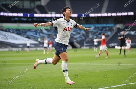 Son Heung-min of Tottenham celebrates after scoring the 1-1 equalizer during the English Premier League soccer match between Tottenham Hotspur and Arsenal FC in London, Britain, 12 July 2020.