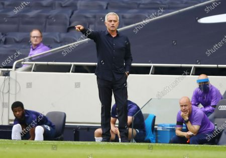 Tottenham's manager Jose Mourinho (C) reacts during the English Premier League soccer match between Tottenham Hotspur and Arsenal FC in London, Britain, 12 July 2020.