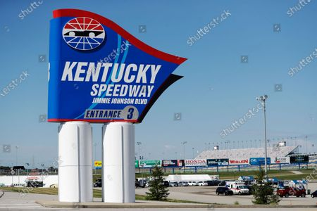 An entrance sign for Kentucky Speedway bears the name of driver Jimmie Johnson after the street was named for him before a NASCAR Cup Series auto race, in Sparta, Ky