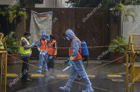 Editorial picture of BMC Authorities Seal And Sanitise Bollywood actor Amitabh Bachchan's Bungalow Jalsa, Declared Containment Zone, Mumbai, Maharashtra, India - 12 Jul 2020
