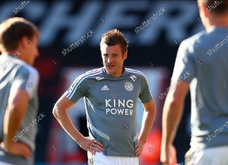 Leicester's Jamie Vardy looks on during the warm-up before the English Premier League match between AFC Bournemouth and Leicester City in Bournemouth, Britain, 12 July 2020.