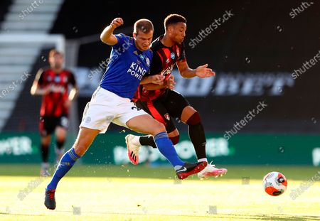 Bournemouth's Arnaut Danjuma Groeneveld (R) in action against Leicester's Ryan Bennett (L) during the English Premier League match between AFC Bournemouth and Leicester City in Bournemouth, Britain, 12 July 2020.