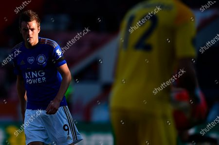 Leicester's Jamie Vardy in action during the English Premier League match between AFC Bournemouth and Leicester City in Bournemouth, Britain, 12 July 2020.
