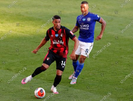 Bournemouth's Arnaut Danjuma Groeneveld (L) in action against Leicester's Youri Tielemans (R) during the English Premier League match between AFC Bournemouth and Leicester City in Bournemouth, Britain, 12 July 2020.