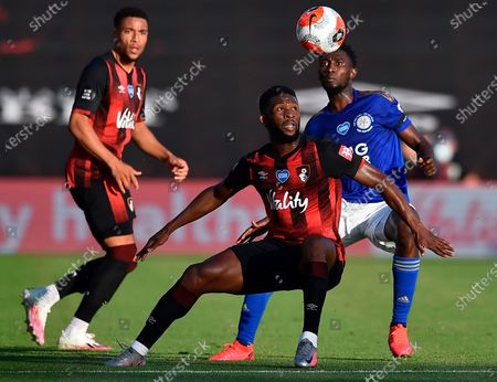 Bournemouth's Jefferson Lerma (front) in action againstLeicester's Ricardo Pereira (back) during the English Premier League match between AFC Bournemouth and Leicester City in Bournemouth, Britain, 12 July 2020.