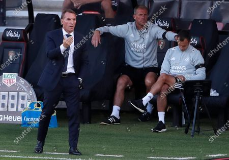 Manager of Leicester Brendan Rodgers gestures during the English Premier League match between AFC Bournemouth and Leicester City in Bournemouth, Britain, 12 July 2020.