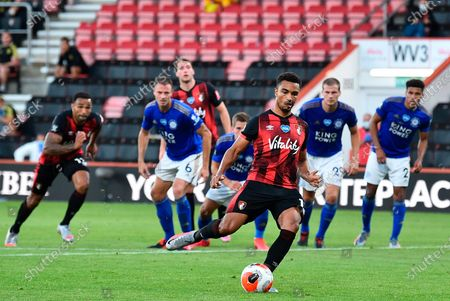 Bournemouth's Junior Stanislas scores a penalty kick for a 1-1 draw during the English Premier League match between AFC Bournemouth and Leicester City in Bournemouth, Britain, 12 July 2020.