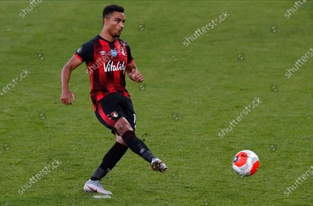 Bournemouth's Junior Stanislas coverts a penalty kick for a 1-1 draw during the English Premier League match between AFC Bournemouth and Leicester City in Bournemouth, Britain, 12 July 2020.
