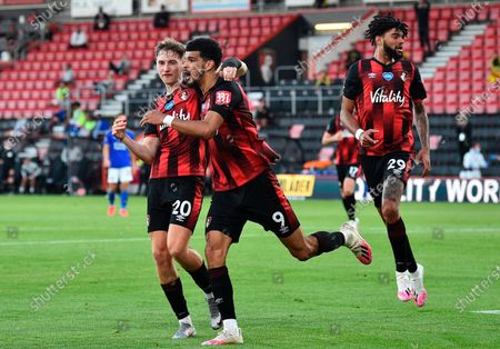 Bournemouth's Dominic Solanke (R) celebrates after scoring for the 2-1 lead with Bournemouth's David Brooks (L) during the English Premier League match between AFC Bournemouth and Leicester City in Bournemouth, Britain, 12 July 2020.