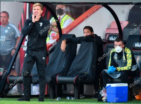 Bournemouth manager Eddie Howe reacts during the English Premier League match between AFC Bournemouth and Leicester City in Bournemouth, Britain, 12 July 2020.